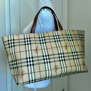 Euc Burberry large haymarket check tote handbag